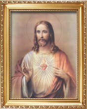 83358 sacred Heart Picture in Gold Frame 35x45cm