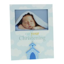 Blue Christening Baby Boy Photo Frame