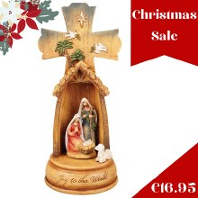 Musical Nativity Cross Scene (28cm)