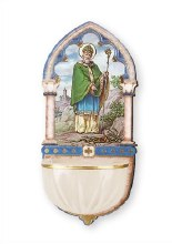 St Patrick Wood Holy Water Font