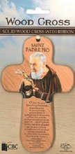 St Padre Pio Wooden Cross with Prayer (15cm)