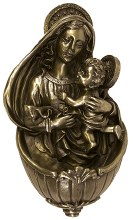 Bronze Madonna and Child Holy Water Font