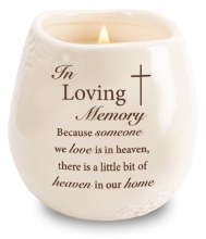 Stoneware Jar with Soy Wax Candle and message In Loving Memory