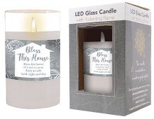 86720 Bless this House LED Glass Candle 13 x 8cm