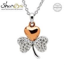 Sterling Silver Shamrock Swarovski Crystal Pendant