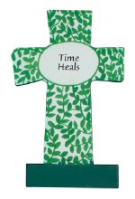 12540 Time Heals Wood  Message Cross 9cm