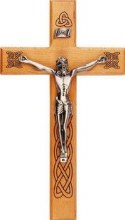 Wooden Crucifix with Celtic Scrolls (26cm)