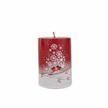 A1341 Christmas Robin Snowflake candle  10x 7 cm