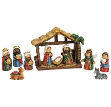 11 piece Nativity with Shelter 10cm