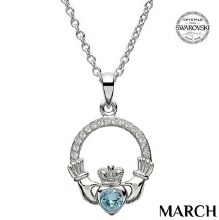 Claddagh Birthstone Necklace With Swarovski Crystals (March)