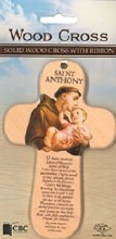 St Anthony Wooden Cross with Prayer (15cm)