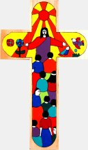 Christ of All Nations Hand Painted Wooden Cross (38cm)