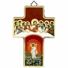Last Supper Resurrection Icon Crucifix (12 x 9cm)