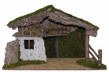 Large Traditional Nativity Stable (78 x 36 x 48 cm)