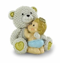 Blue Baby Boy Angel with Teddy Bear