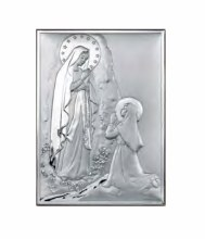 Lourdes Sterling Silver Icon (25 x 21 cm)