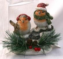 690151 Christmas Robins with LED Light 12x16cm
