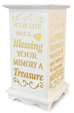 Your Life was a blessing, Your memory a treasure LED Wooden Lantern for Graves