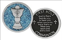Communion Pocket Token with Blue Glitter