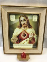 574/B Sacred Heart Golg Frame with Battery Light