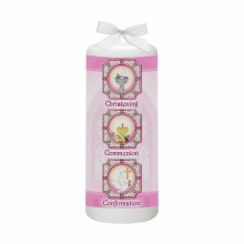 Pink BCC Church Window Baptism Candle