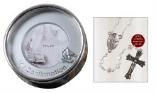 Crystal Confirmation Rosary Beads in Silver Plated Keepsake Box