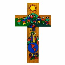 Children of the World United hand painted wood Cross (15cm)