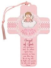 12461 Bless This Baby Girl Wood Cross 13cm