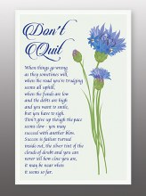 Don't Quit Glasss Plaque With Stand
