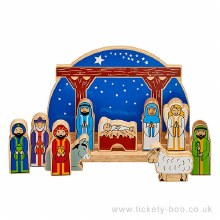 Starry Night Wooden  Childrens Nativity Set