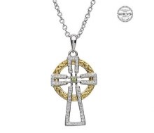 Sterling Silver Gold Plate Celtic Cross With Swarovski Crystals/Peridot