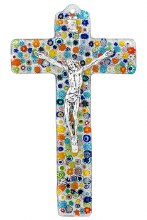 Specchio Murano Glass Crucifix with Silver Corpus (23cm)