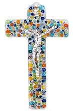 Specchio Murano Glass Crucifix with Silver Corpus (23cm)