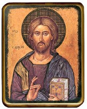 Christ the Teacher Icon on Walnut Wood Panel (82 x 62cm)