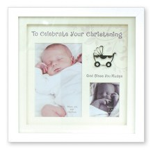 Christening White Box Frame holds two photos