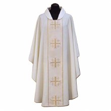 White Chasuble, Cream orphrey and cross design