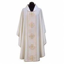 White Chasuble, Cream orphrey and cross design
