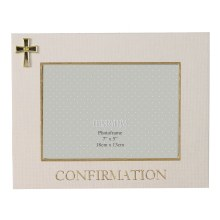 Confirmation Photo Frame with Gold Cross Motif