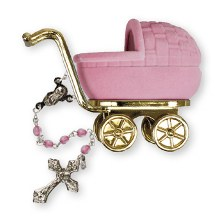 Baby Girl Pink Rosary Beads in Pram Gift Box