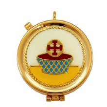 White and Yellow Chalice Gold Plated Pyx (12 hosts)