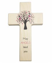 Pink May Angels Lead You Wooden cross (20cm)