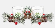 Silver Double Glass Candleholder Set