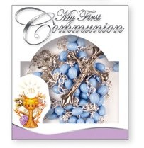 Blue First Holy Communion Rosary Beads