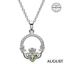 Claddagh Birthstone Necklace With Swarovski Crystals (August)
