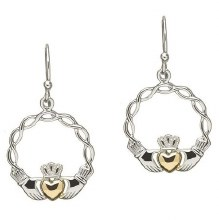 Sterling Silver Gold Plate Claddagh Earrings