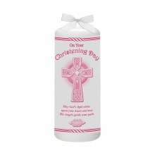 Pink Celtic Cross Christening candle 15cm