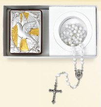Confirmation Silver Icon with rosary Beads