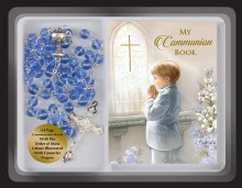 Blue First Holy Communion Rosary beads with Prayer book
