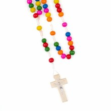 multi coloured rosary beads made from real wood