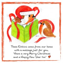CR007 From Our Home Christmas Robin Card